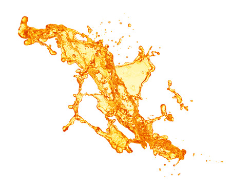 jus d'orange splash op een witte achtergrond
