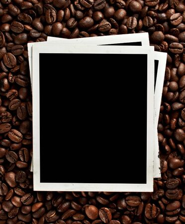 Coffee grunge background with old photo frame 免版税图像