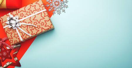 Christmas banner. Xmas background with gift box and christmas decor. Christmas poster, greeting cards.