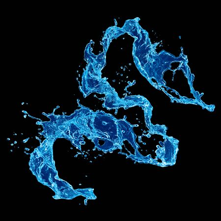 Clear blue water splash isolated on black background