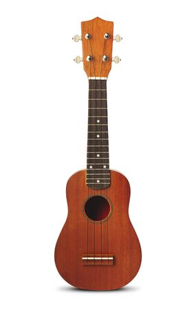 The brown ukulele guitar isolated on the white background 免版税图像