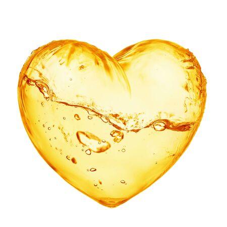 Fresh orange juice splash in the shape of a heart isolated on white background