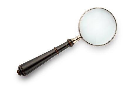 Vintage magnifying isolated on white background. Path included. 免版税图像