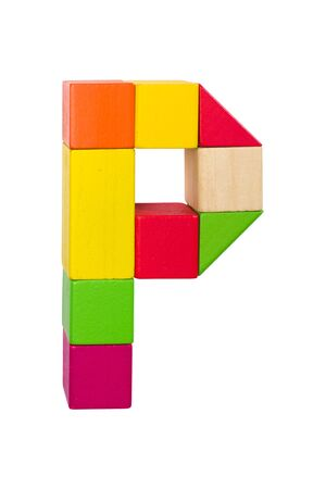 Wood cube alphabet. Block toy from childhood. Isolated letter from path. 免版税图像