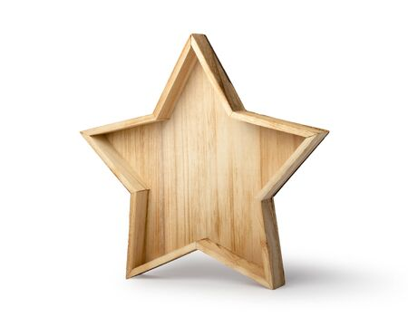Wooden christmas star isolated on white background