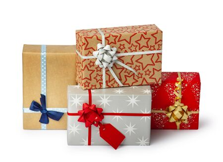 Set of colorful gift box isolated on white background. Path included.