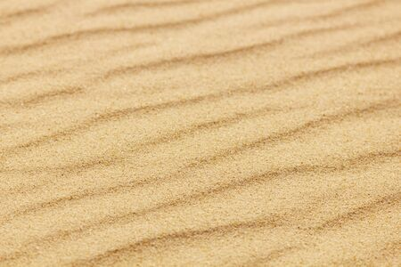 Closeup of sand pattern of a beach in the summer.