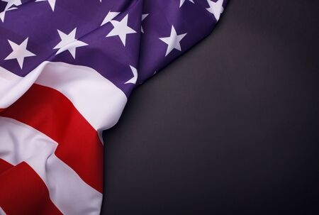 Closeup of American flag on plain background. USA Memorial Day.