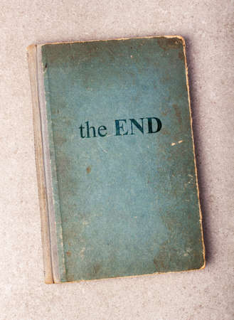 Old book with words THE END