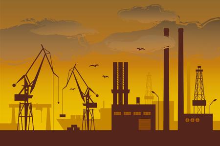 Shipyard at dusk Illustration