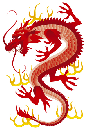 Red dragon. Red oriental dragon.