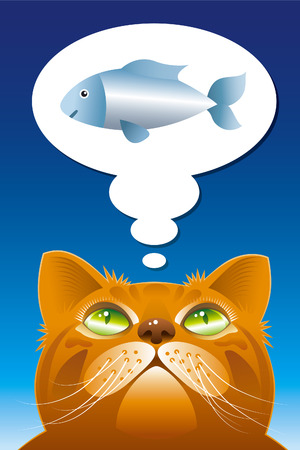 contemplate: Cat the dreamer. Cartooned cat dreaming about fish. Illustration
