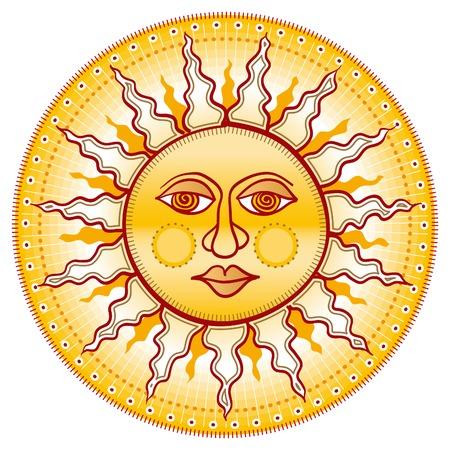 cartooned: Golden face. Cartooned yellow sun.