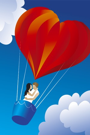 Valentine balloon. Red balloon in the shape of a heart. Zdjęcie Seryjne - 71970091