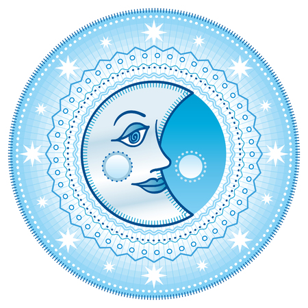 moon: Blue moon. Cartooned blue moon.