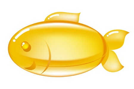 Omega-3 pill. Omega-3 pills in a shape of a fish. Illustration