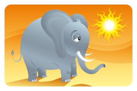 Big ears. Cartooned tiny elephant at desert. Illustration