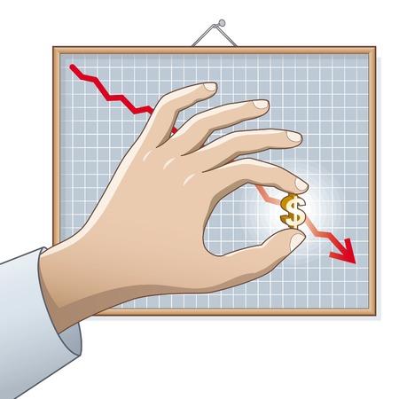 disrepair: Falling Dollar. US Dollar on the chart. Illustration