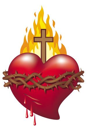 Corazón de Jesús. Símbolo del Sagrado Corazón de Jesús. Ilustración de vector