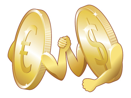 nasdaq: Euro vs Dollar. Competition between US Dollar and European Euro.