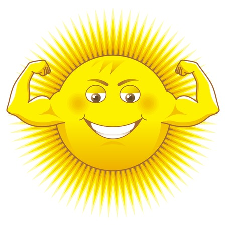 Solar power. Cartooned sun as a source of power.