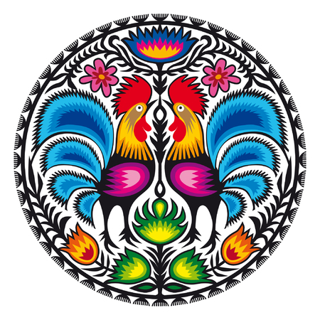 Roosters. Illustration of traditional Polish paper-cut from Lowicz region.