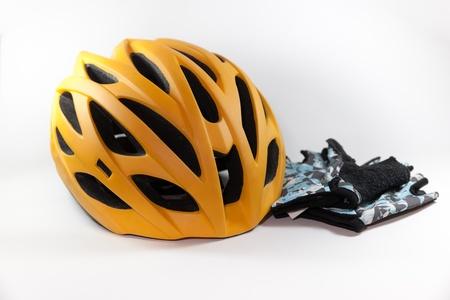 Bike gloves and bike helmet isolate on white background