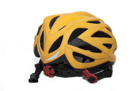 Bicycle helmet in back view isolate with white  photo