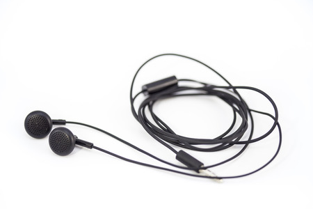 earphone: Blur earphone on white Stock Photo