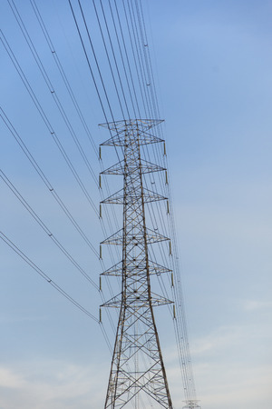 blu sky: High voltage electricity post with blu sky Stock Photo