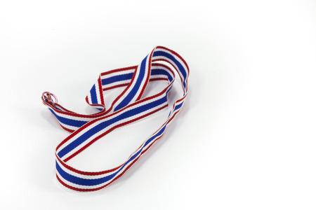 disharmony: Thai flag pattern ribbon on white back ground Stock Photo