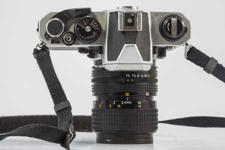 viewfinder vintage: Top view of Old film camera is the popular in the past