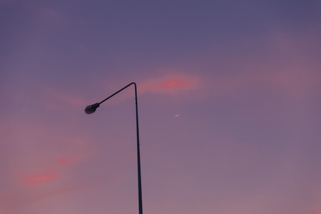 Electric street lamps in the evening. photo