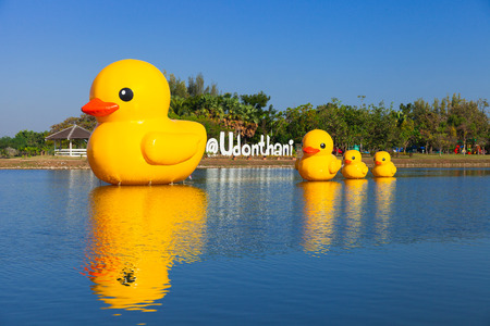 Giant rubber duck in Public park. Udonthani