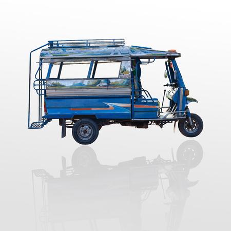 tuk: A three wheeled taxi tuk tuk isolate on wehite background. Stock Photo