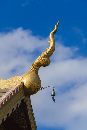 apex: Roof style of thai temple with gable apex on the top of chapel. Stock Photo