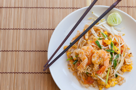 Stir-fried rice noodles Pad Thai is the popular food in Thailand.