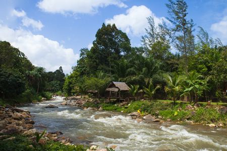 namtok: Ton Pariwat Waterfall or Namtok Song Phraek. located on phang nga, southern of Thailand.