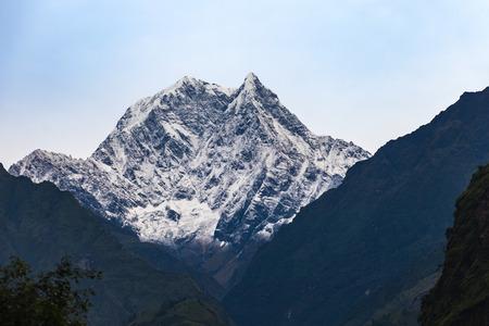 View of Nilgiri Mountain during trekking in Annapurna Circuit trek, Nepal Stock Photo