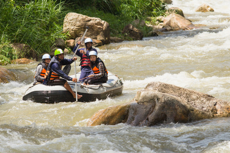 persevere: Phang nga, Thailand - Sept 10,2015 :Tourists who rafting on the river (Ton Pariwat) Phang nga, Thailand. This river is one of the most popular among tourists in Phang nga. Editorial