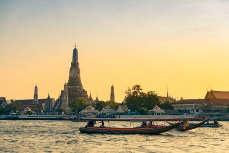 Wat Arun Ratchawararam Ratchawaramahawihan or Wat Arun is Temple of Dawn at twilight in Bangkok, Thailand.