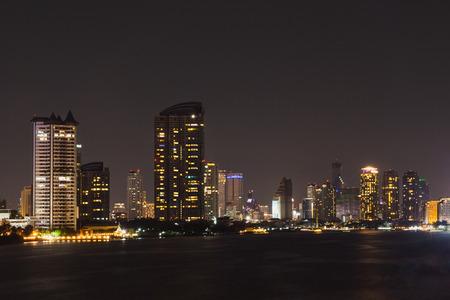 Bangkok cityscape river side at Night time,Thailand.