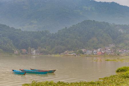 phewa: The lake Fewa with cloudy scene, Pokhara, Nepal