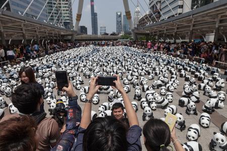Bangkok,Thailand - Mar 08, 2016 : 1600 Pandas+ TH,Paper Mache Pandas campaign at Skywalk Sathon by WWF to represent awareness of panda conservation for endangered animals in Thailand.