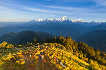 The alpine landscape from poon hill, Nepal