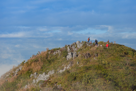 CHIANG MAI, THAILAND - DEC 7, 2015 : Unidentified people on Doi Luang Chiang Dao Mountain on 7 December 2015. This mountain is the popular trekking route in Thailand.