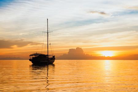 Yacht with sunset scene in koh phangan, Surat Thani, Thailand.