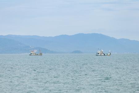 Fishing boat on gulf of Thailand, Surat Thani, Thailand. Stock Photo