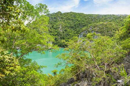 View of Talay Nai (Green Lagoon) is the hidden lake inside Mae Koh Island. Angthong national marine park, Suratthani, Thailand. Stock Photo