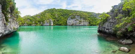 View of Talay Nai (Green Lagoon) is the hidden lake inside Mae Koh Island. Angthong national marine park, Suratthani, Thailand. Stock Photo